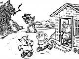 Bad Wolf Blowing 3 Little Pigs Coloring Page