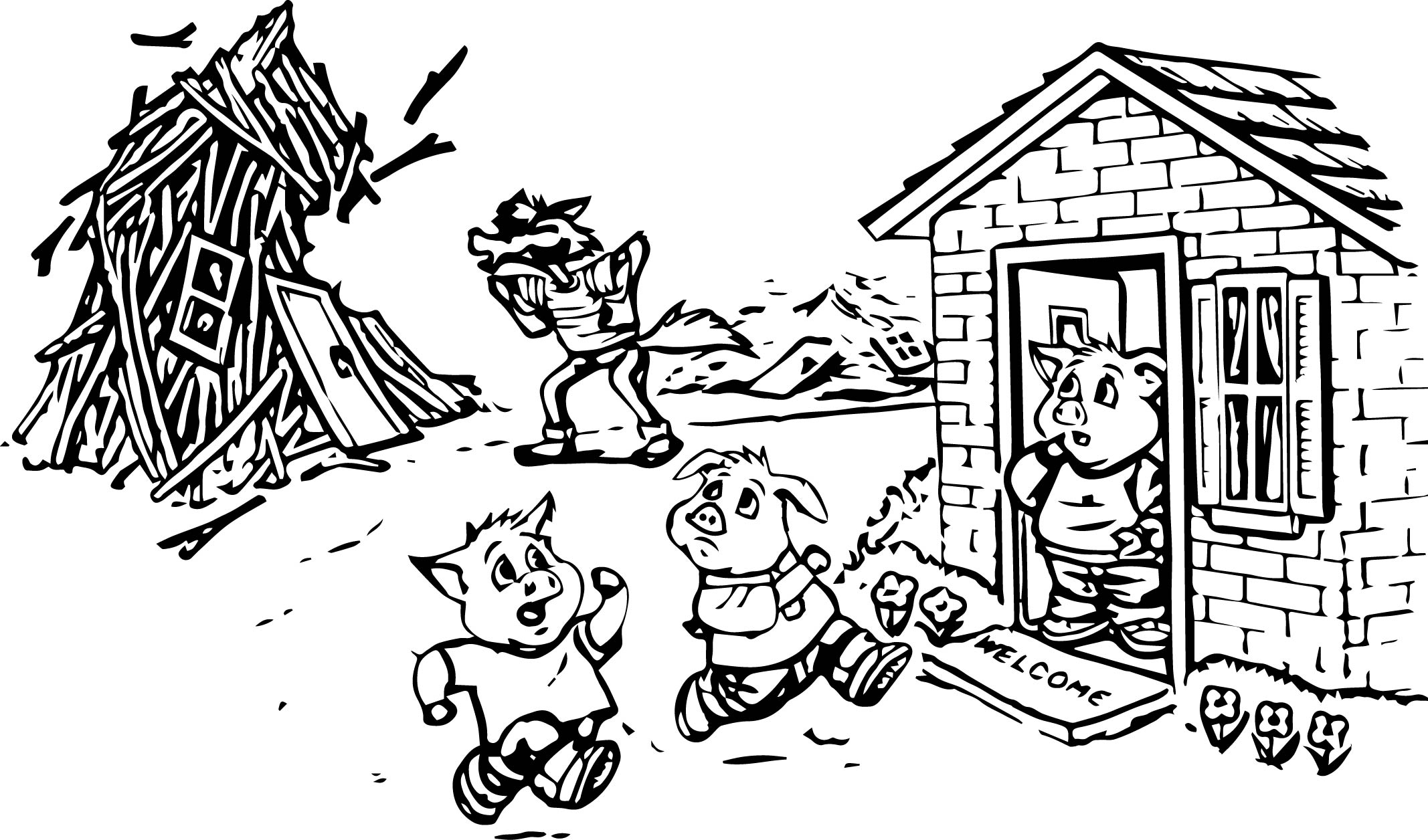 Coloring pages 3 little pigs - Bad Wolf Blowing 3 Little Pigs Coloring Page