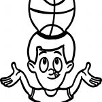 Balancing Basket Ball On Head Playing Basketball Coloring Page