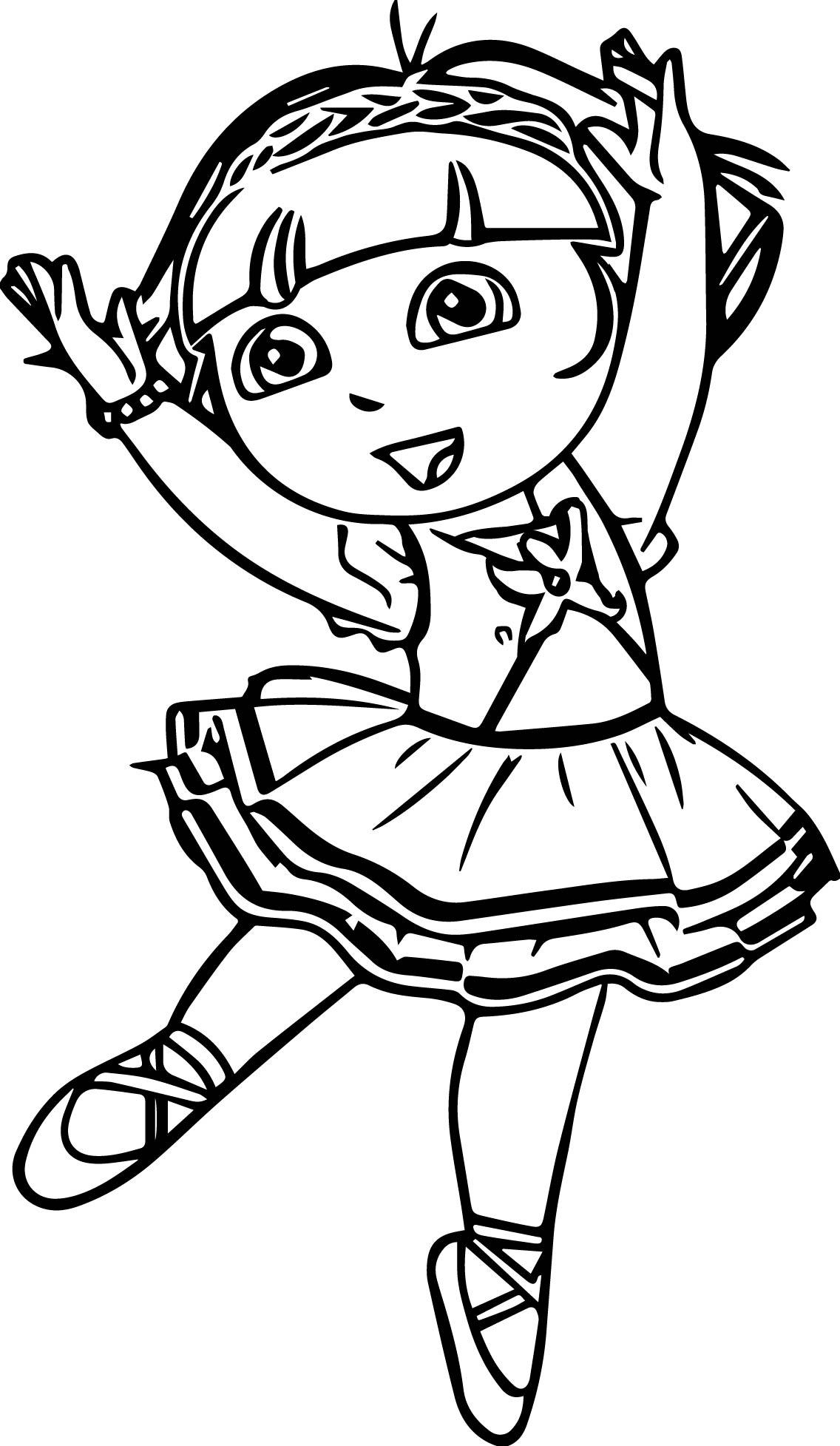 Ballarina Dora Coloring Page
