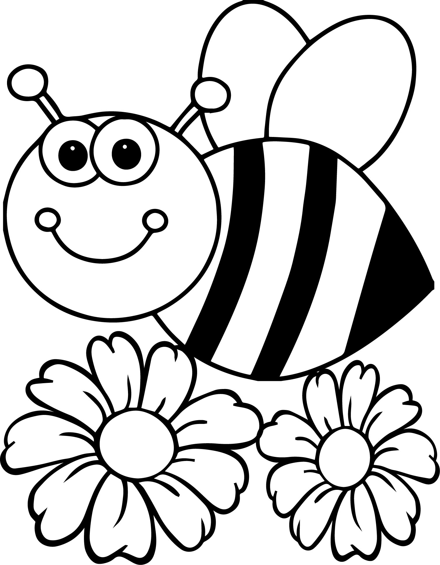 coloring pages of bumble bees - bee flower coloring page