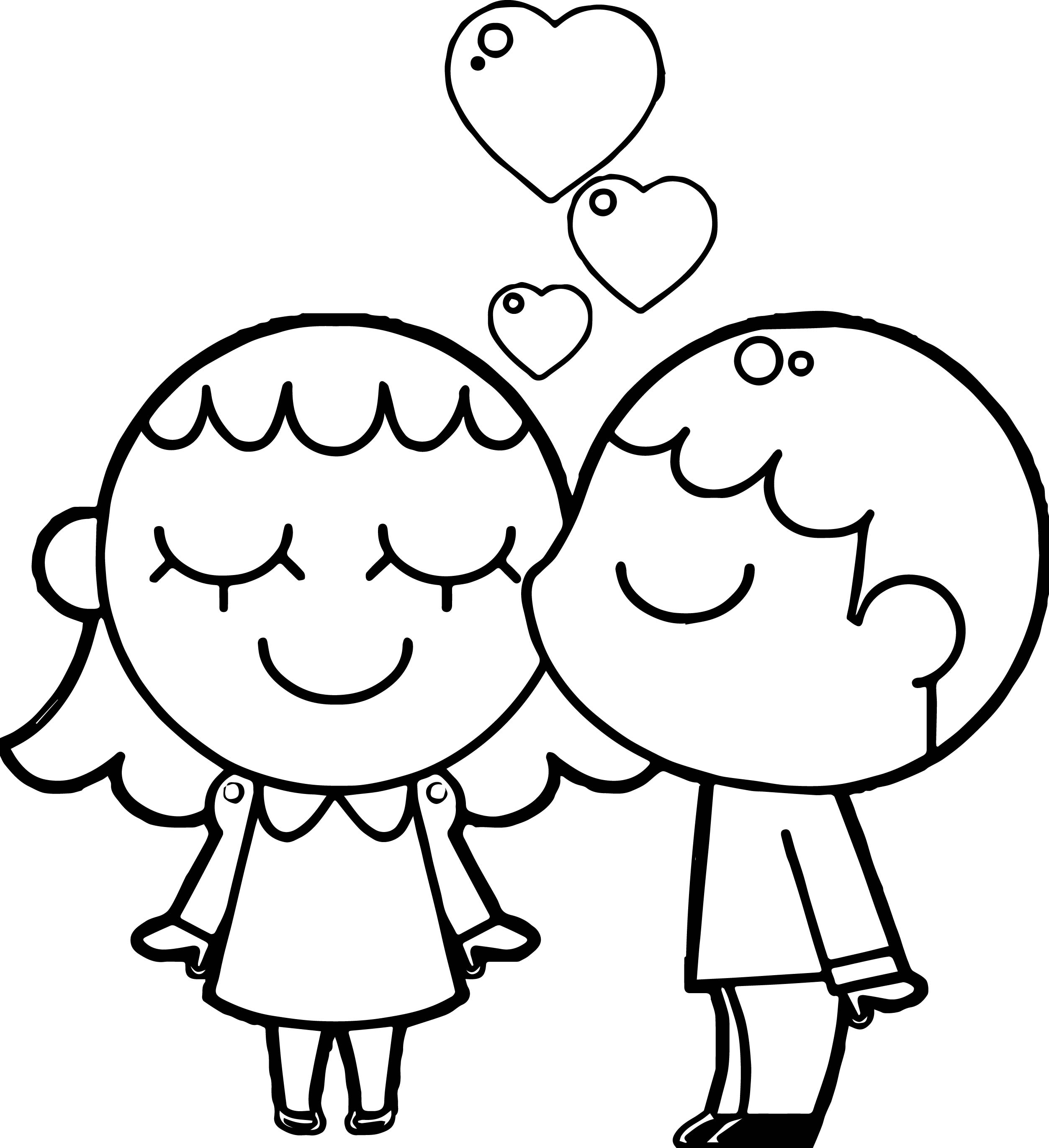 Best friends boy and girl coloring page for Coloring pages girl and boy