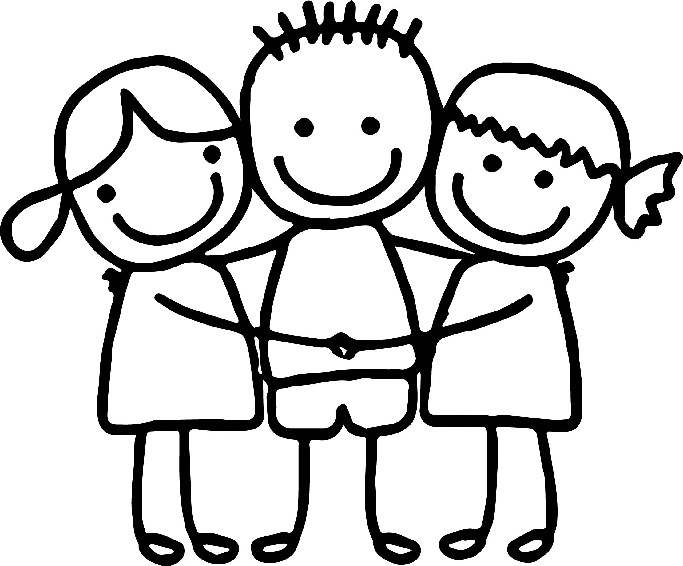 best friends cute girls boy hugging coloring page wecoloringpage
