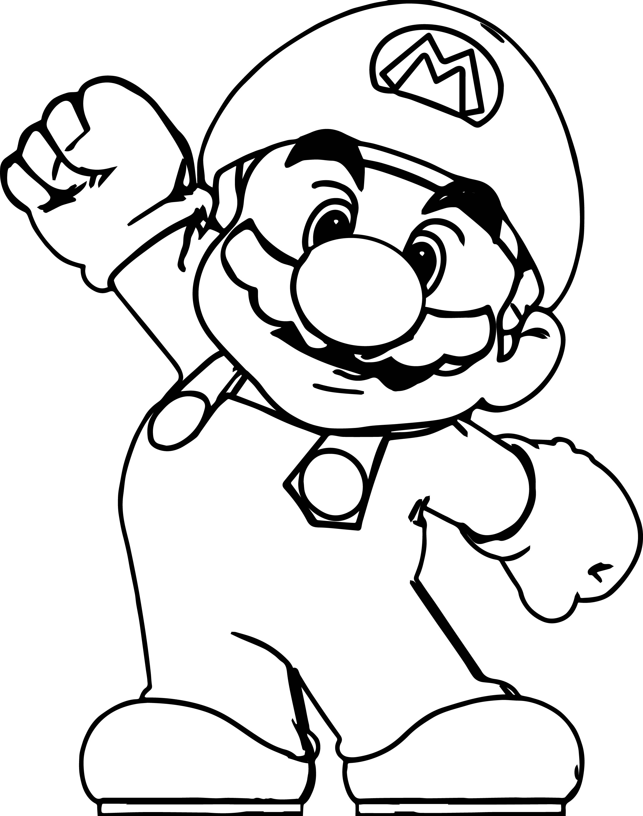 Big super mario coloring page for Mario color page