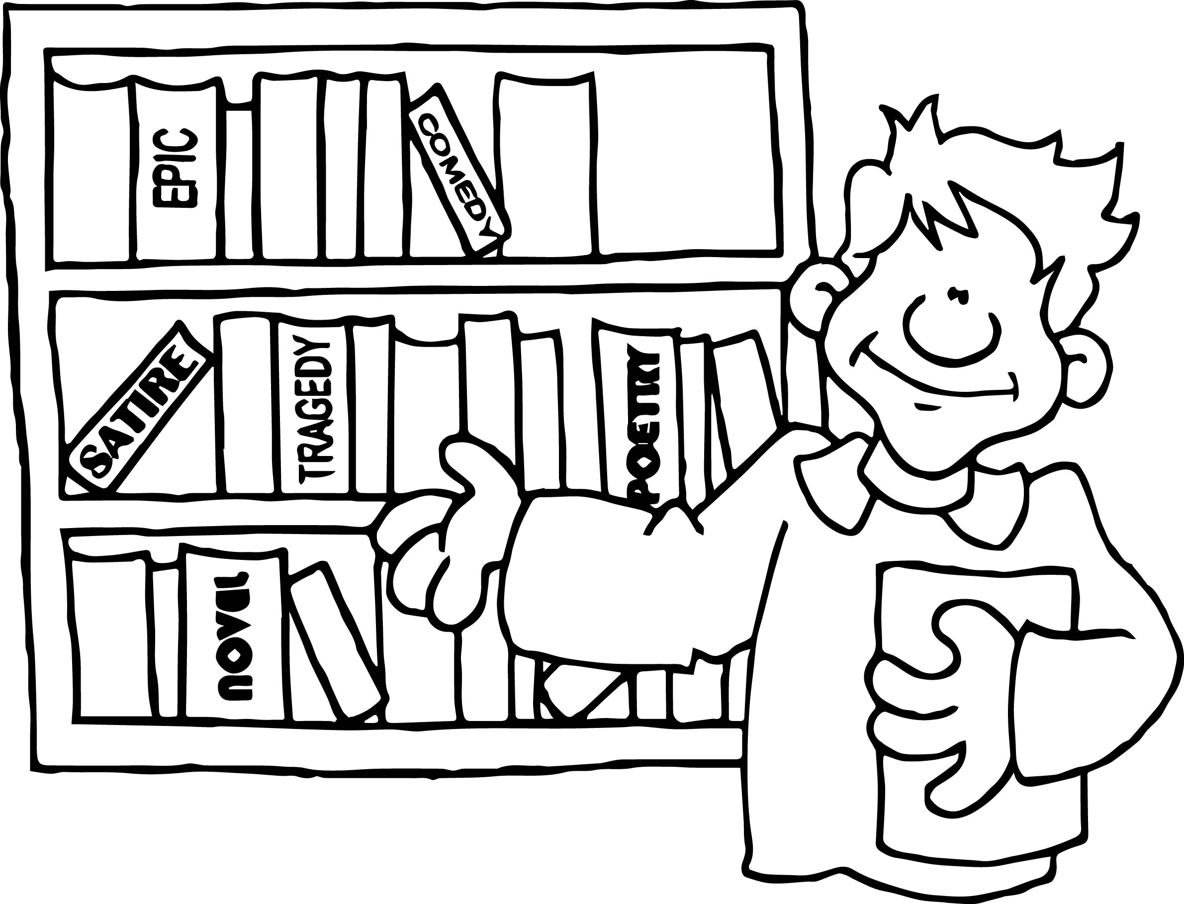 Books Amp Bookshelves For Kids Teachers Coloring Page