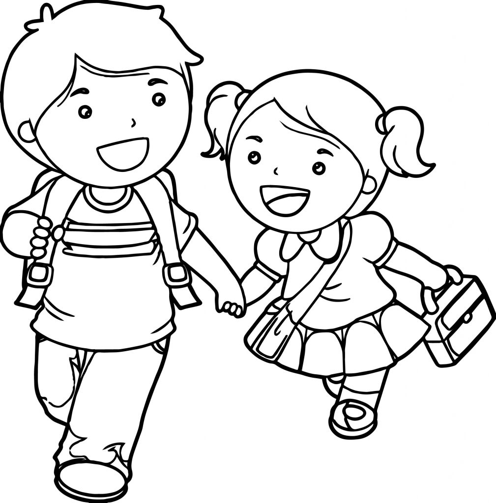 Coloring Pages For Girls: Boy And Girl Lets Go School Coloring Page