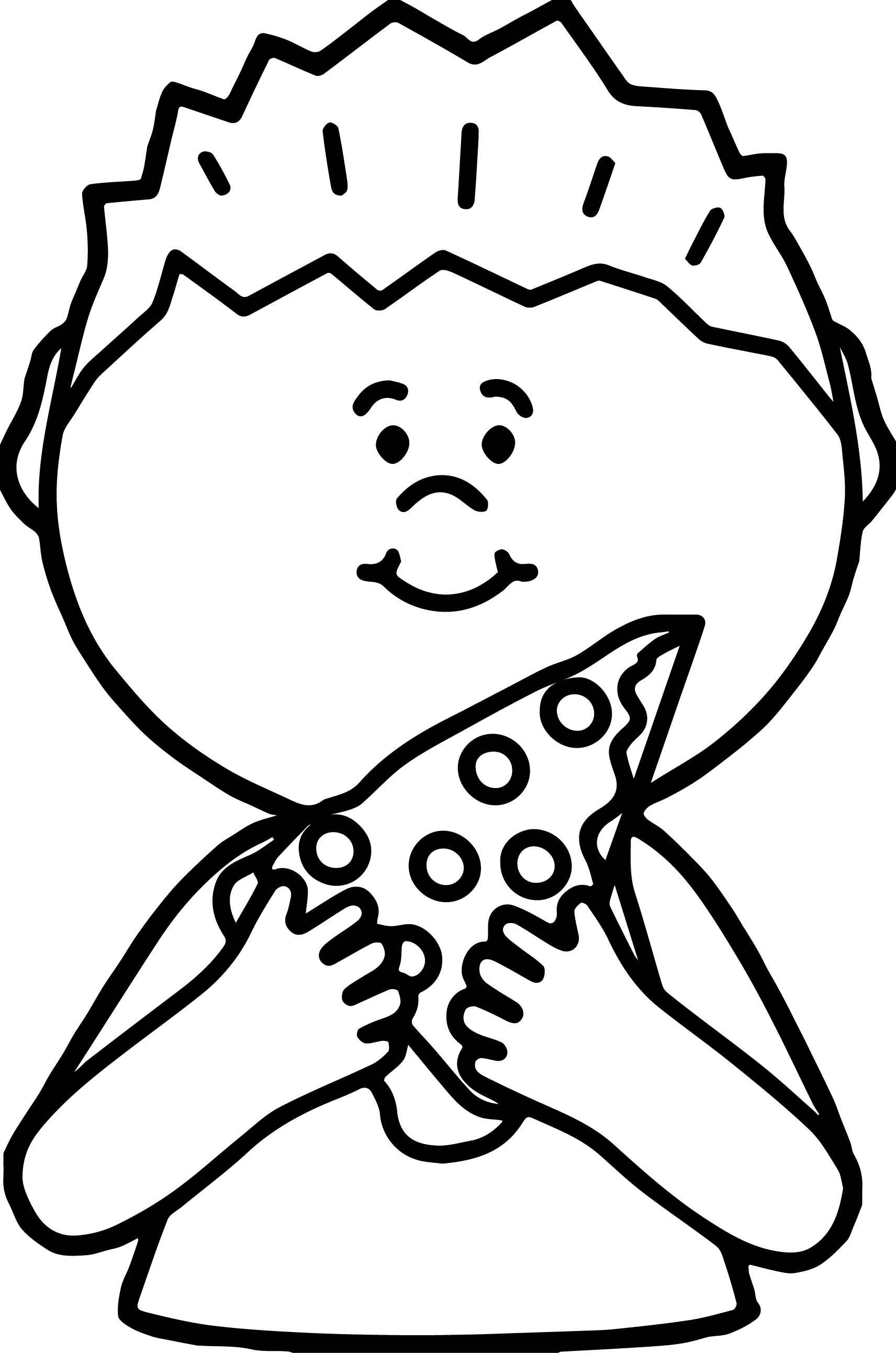 boy eating pizza coloring page wecoloringpage