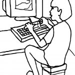 Boy On Computer Playing Computer Games Coloring Page