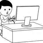 Boy Playing Video Games With Joystick On Computer Playing Computer Games Coloring Page