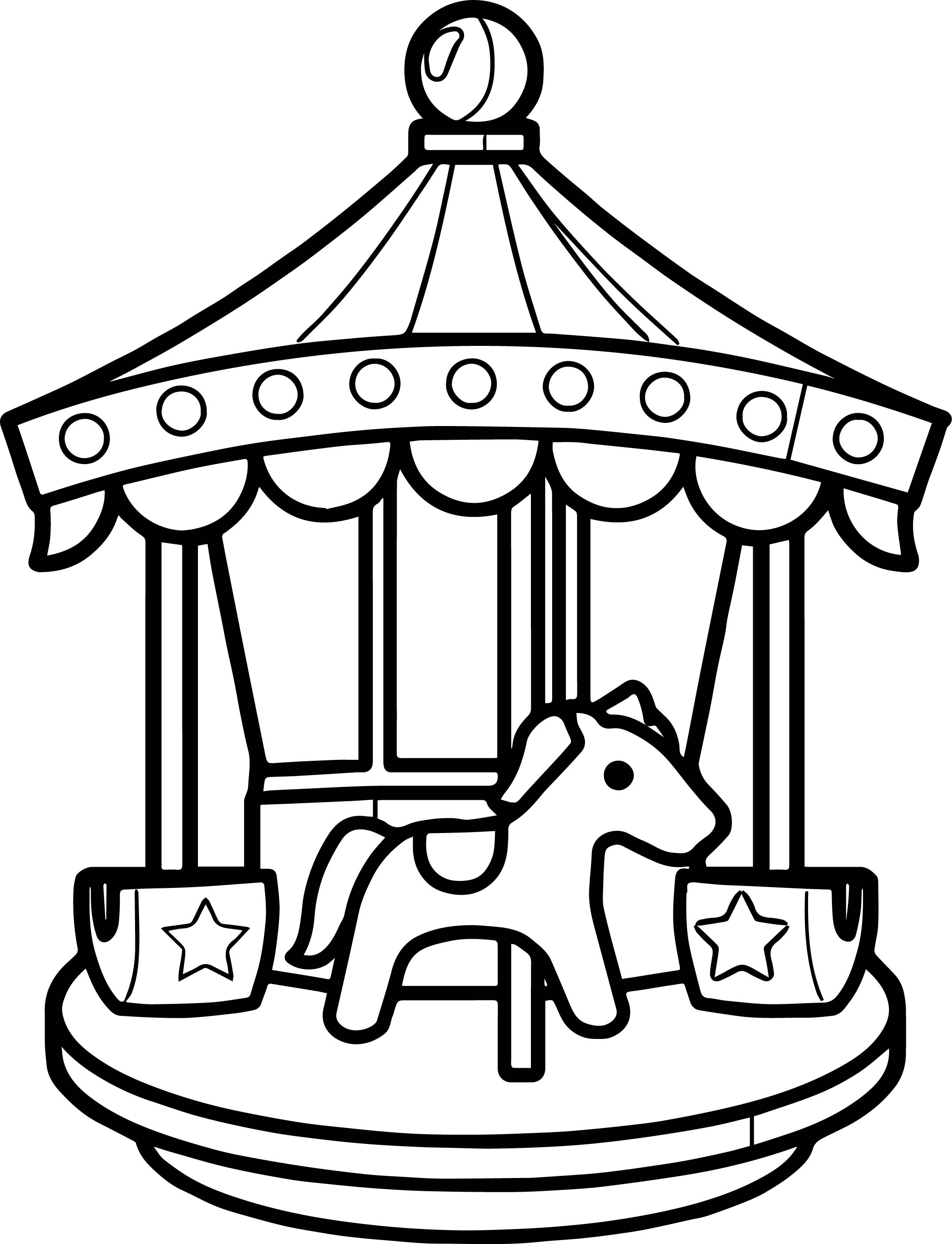 Carousel Coloring Page Wecoloringpage - coloring page of a carousel