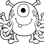Cartoon Alien Spider A B C Alphabet Coloring Page
