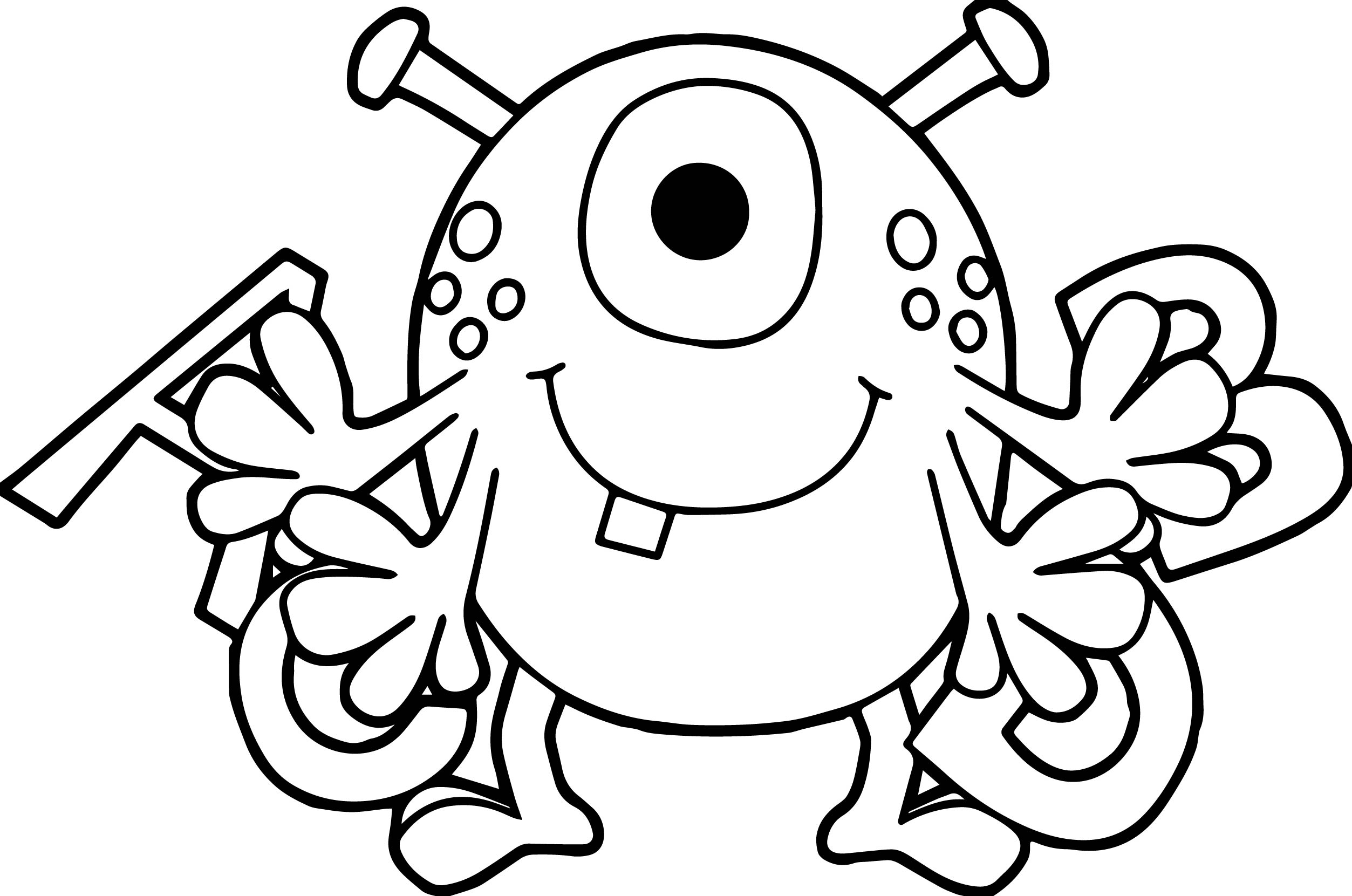 Cartoon Alien Spider A B C Alphabet Coloring Page