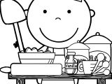 Chef Cooking Free Images Kids Coloring Page