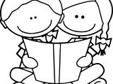 Children Reading Kids Coloring Page