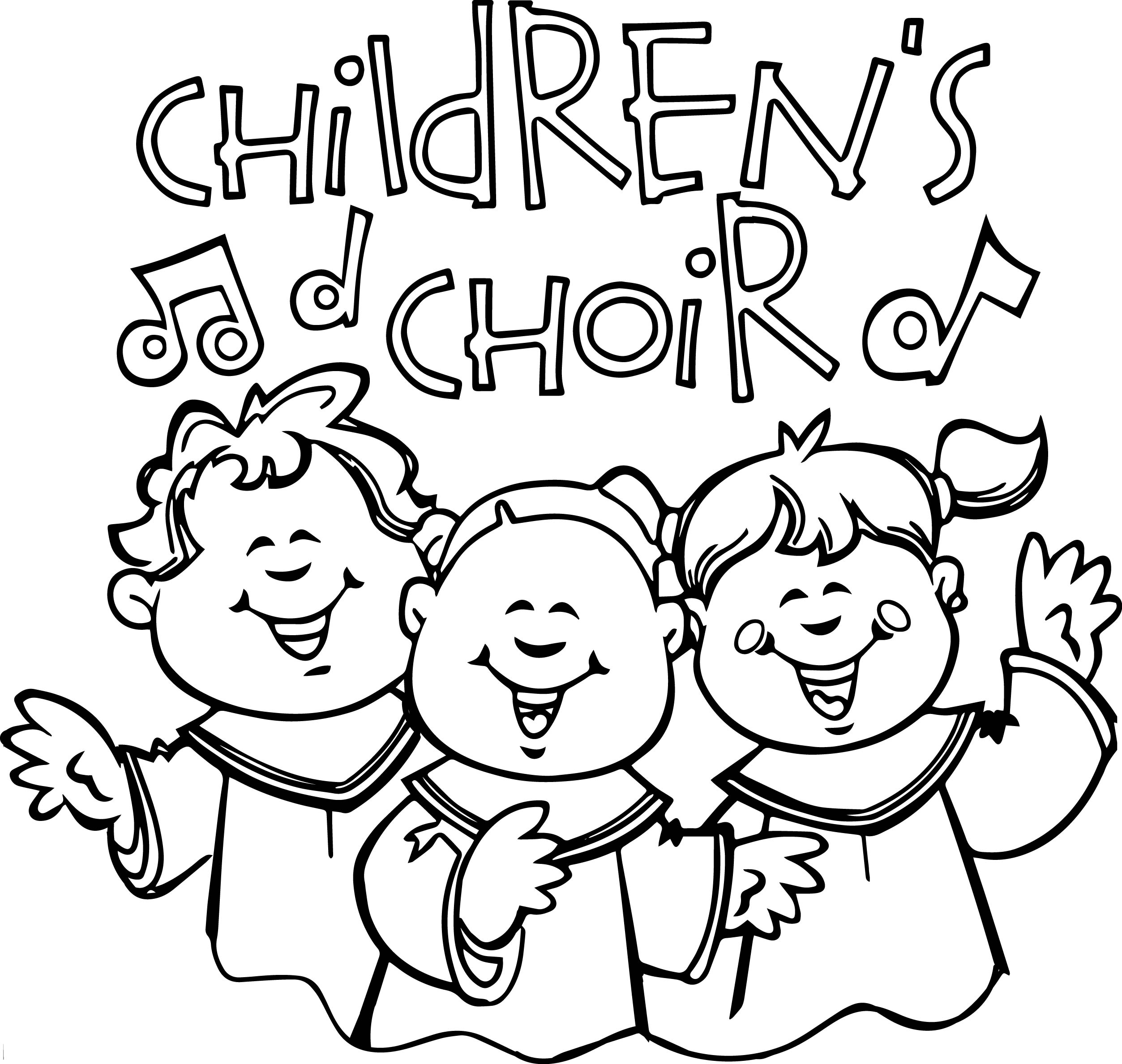 Children Singing In Church Kids Coloring Page