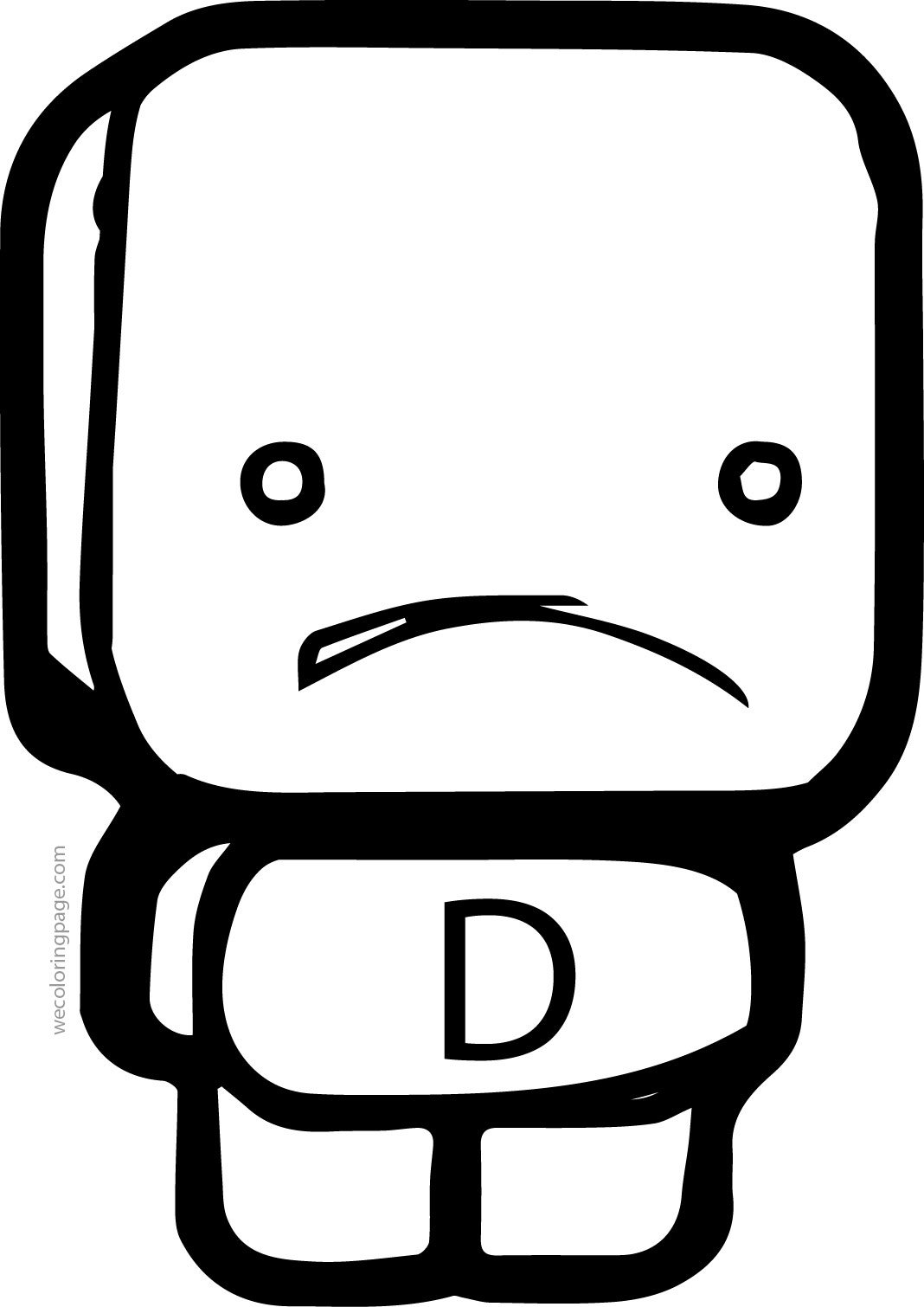 Cube Figure D Letter Coloring Page