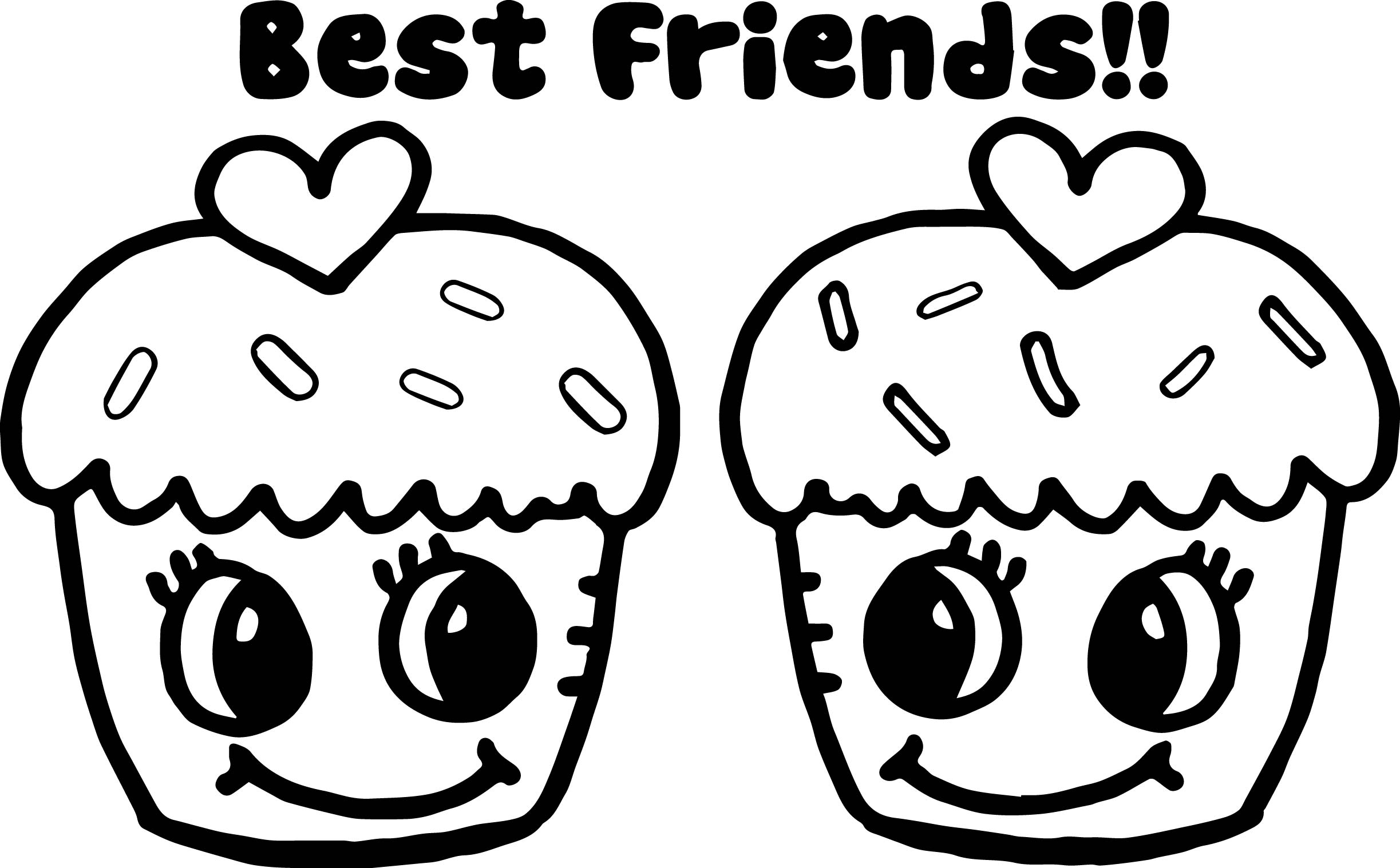 Cupcakes Best Friends Coloring Page | Wecoloringpage