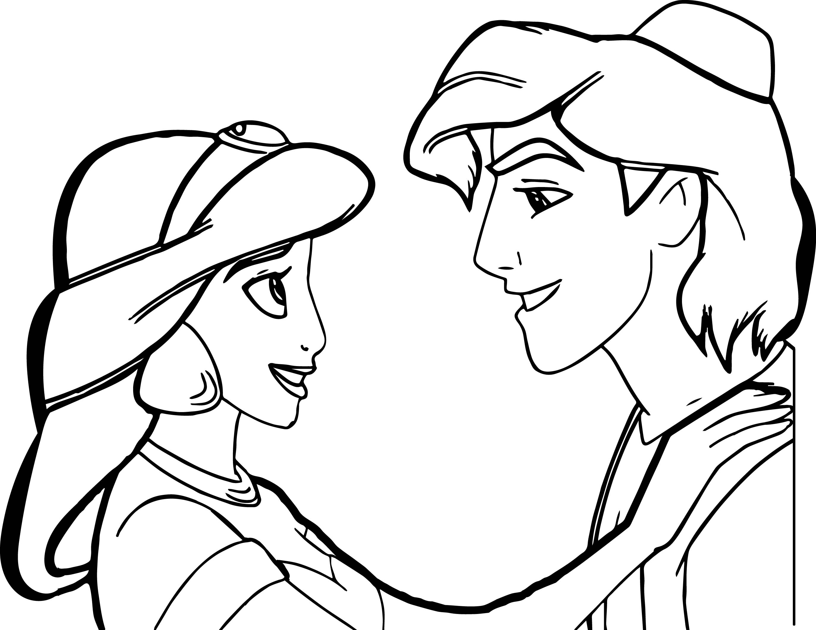 Cute Aladdin Picture Coloring Page