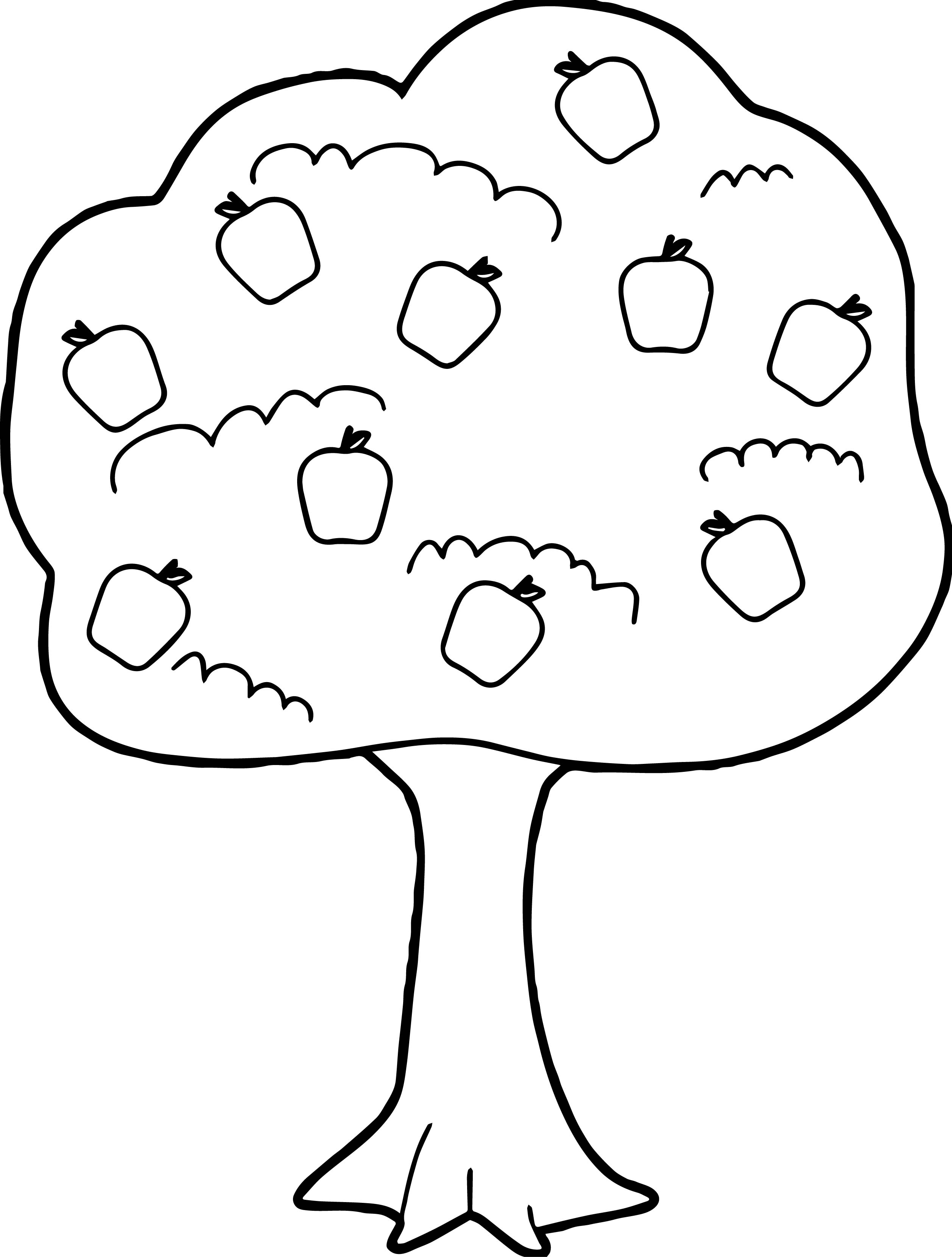 cute apple tree coloring page - Apple Tree Coloring Page