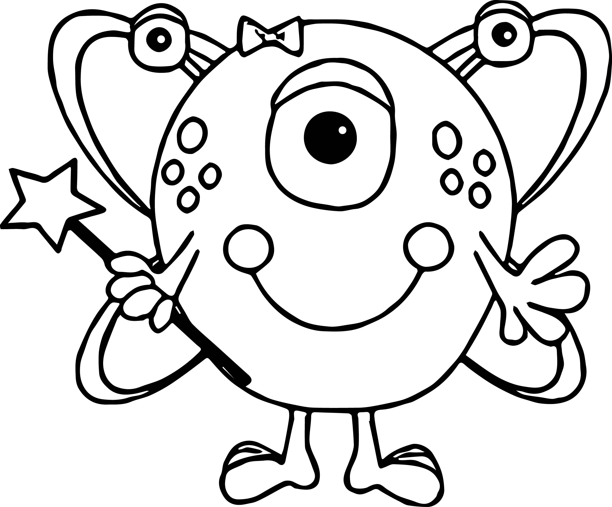 Cute Girl Alien Coloring Page