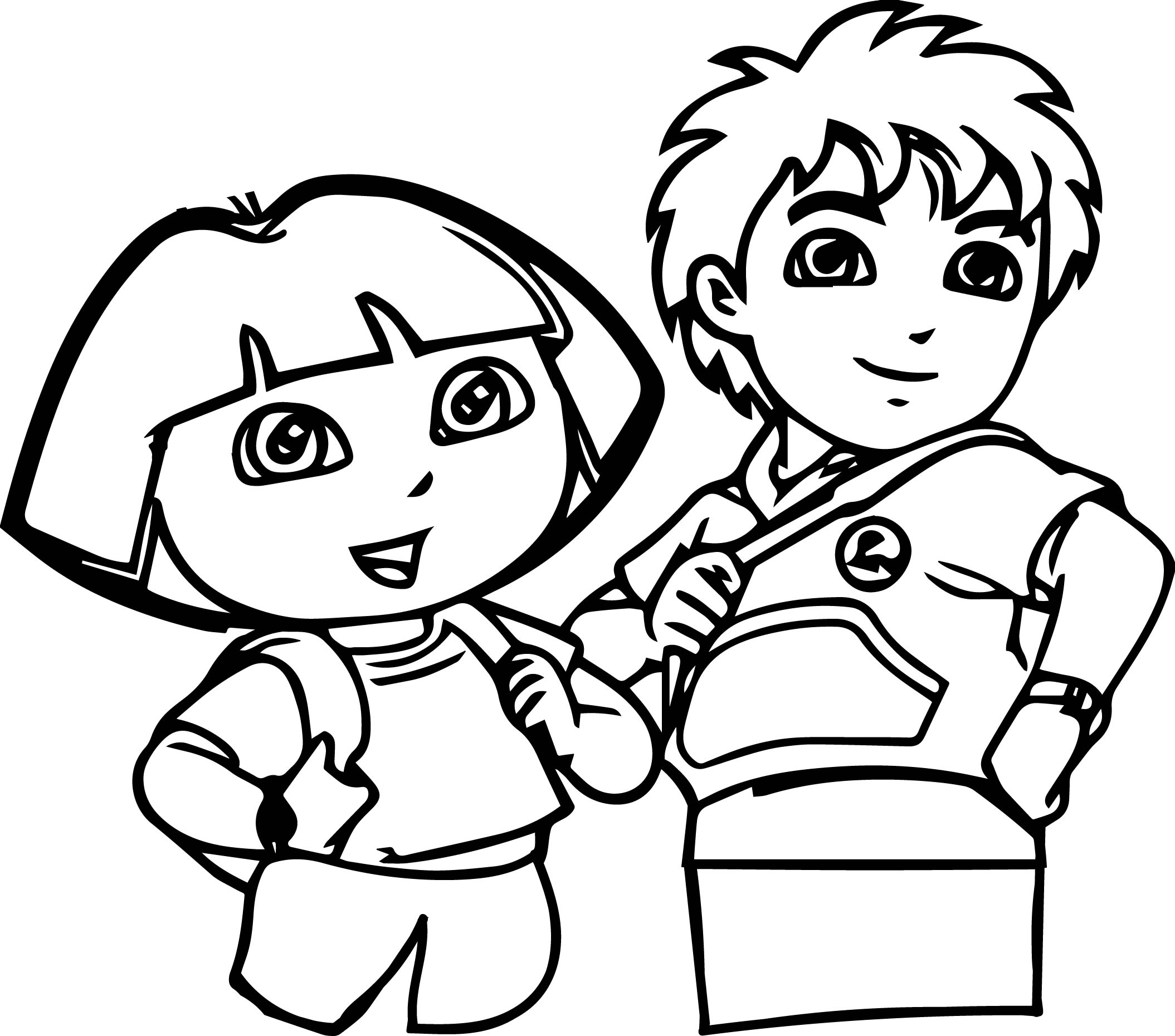 Dora And Child Coloring Page Boy