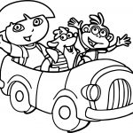 Dora And Friends In The Car Coloring Page
