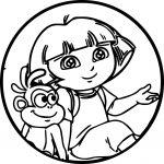 Dora Cartoon Monkey Oval Sweet Cute Coloring Page