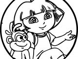 Dora Cartoon Monkey Oval Sweet Cute Coloring Page