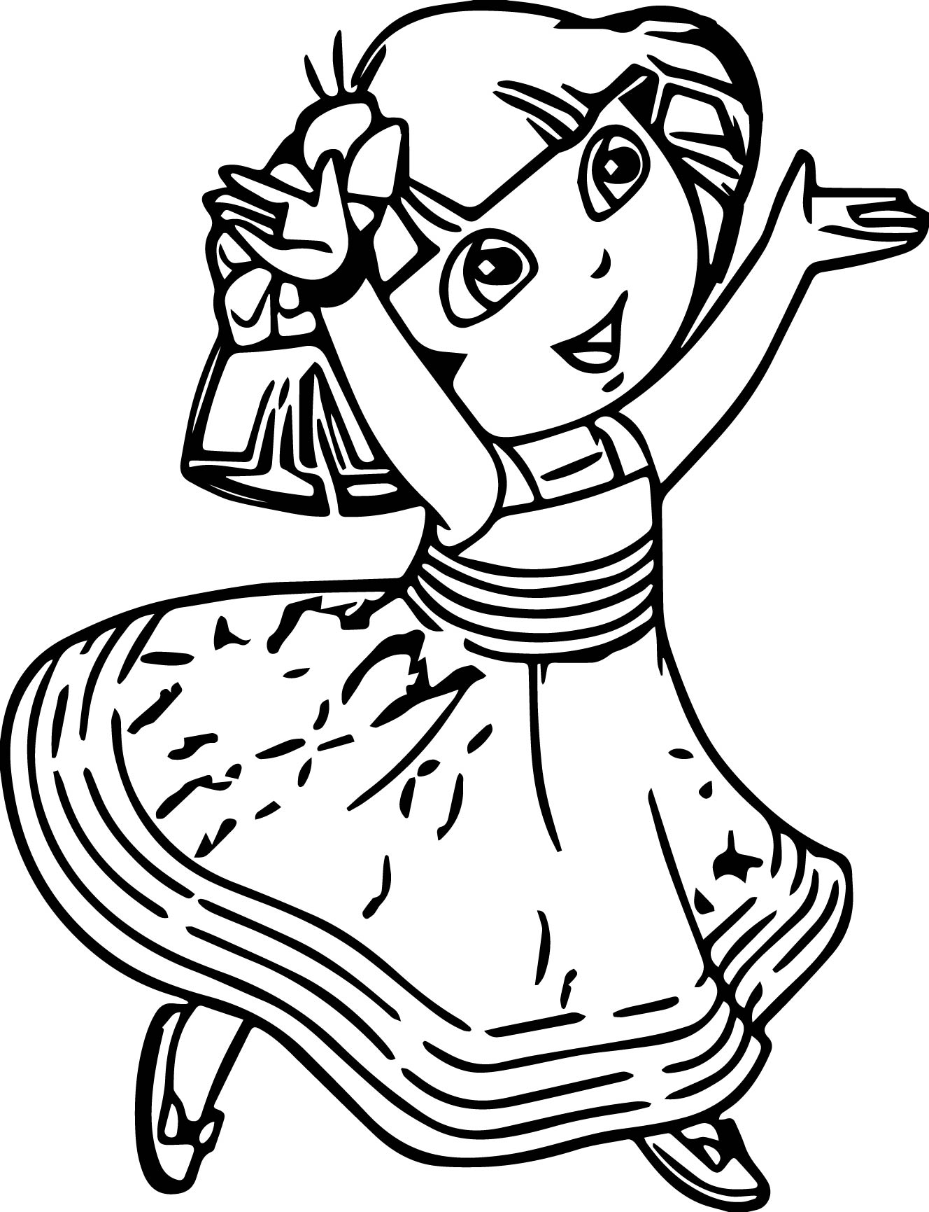 Dora Crystal Empire Dress Coloring Page