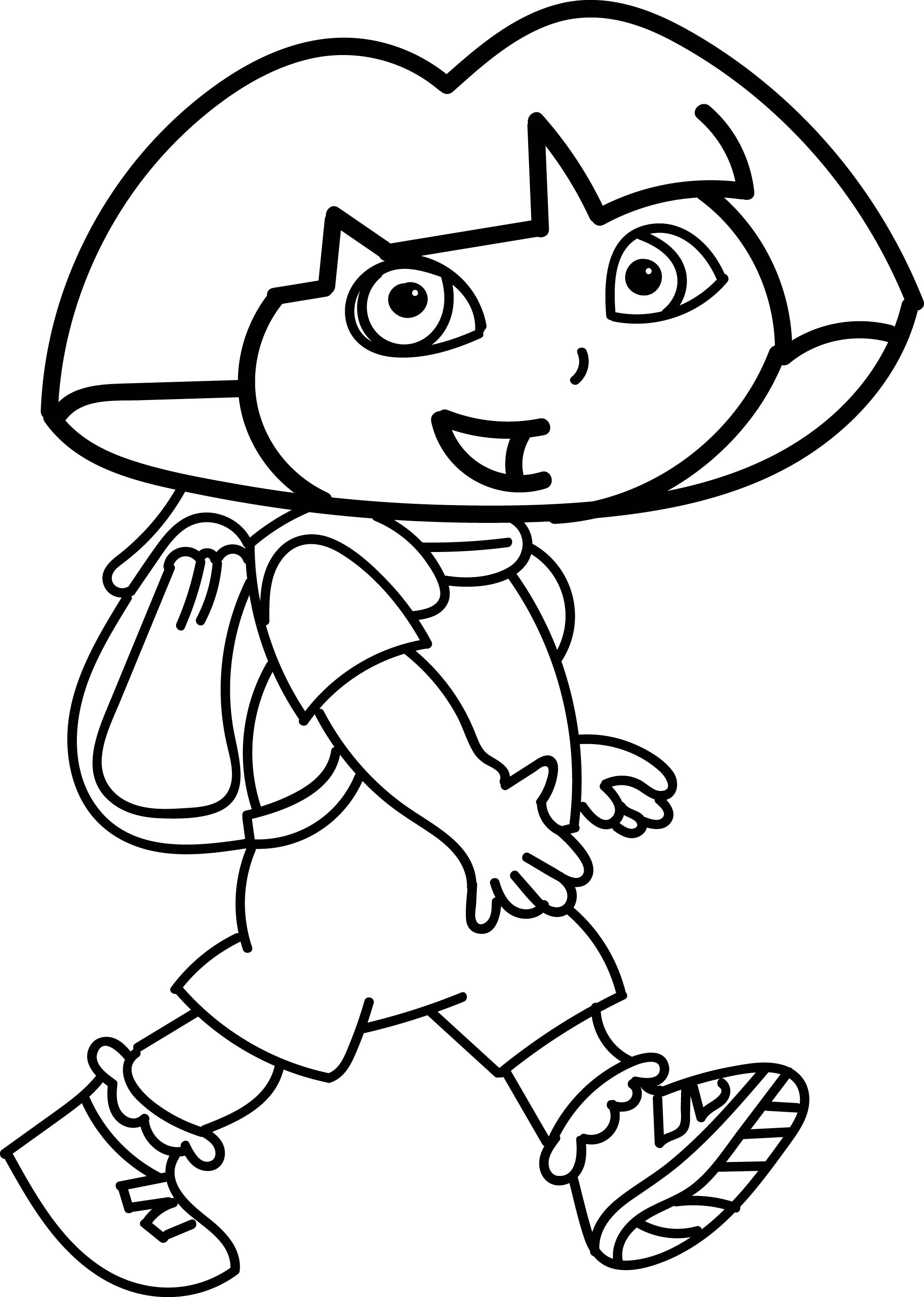 dora walking coloring page