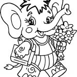 Elephant And Flower Coloring Page