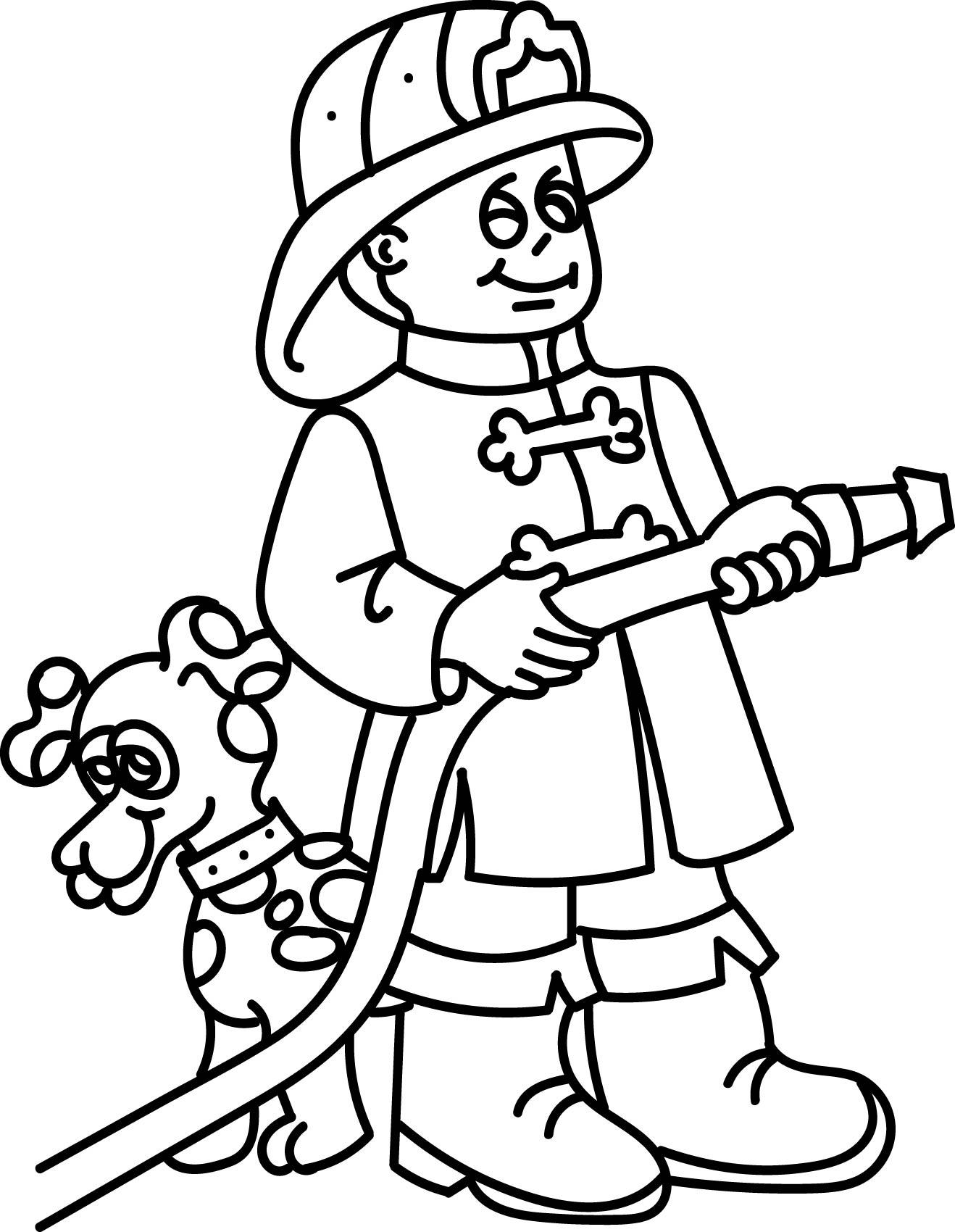 Fireman And Dog Coloring Page