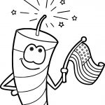 Firework Man One Cartoon Coloring Page