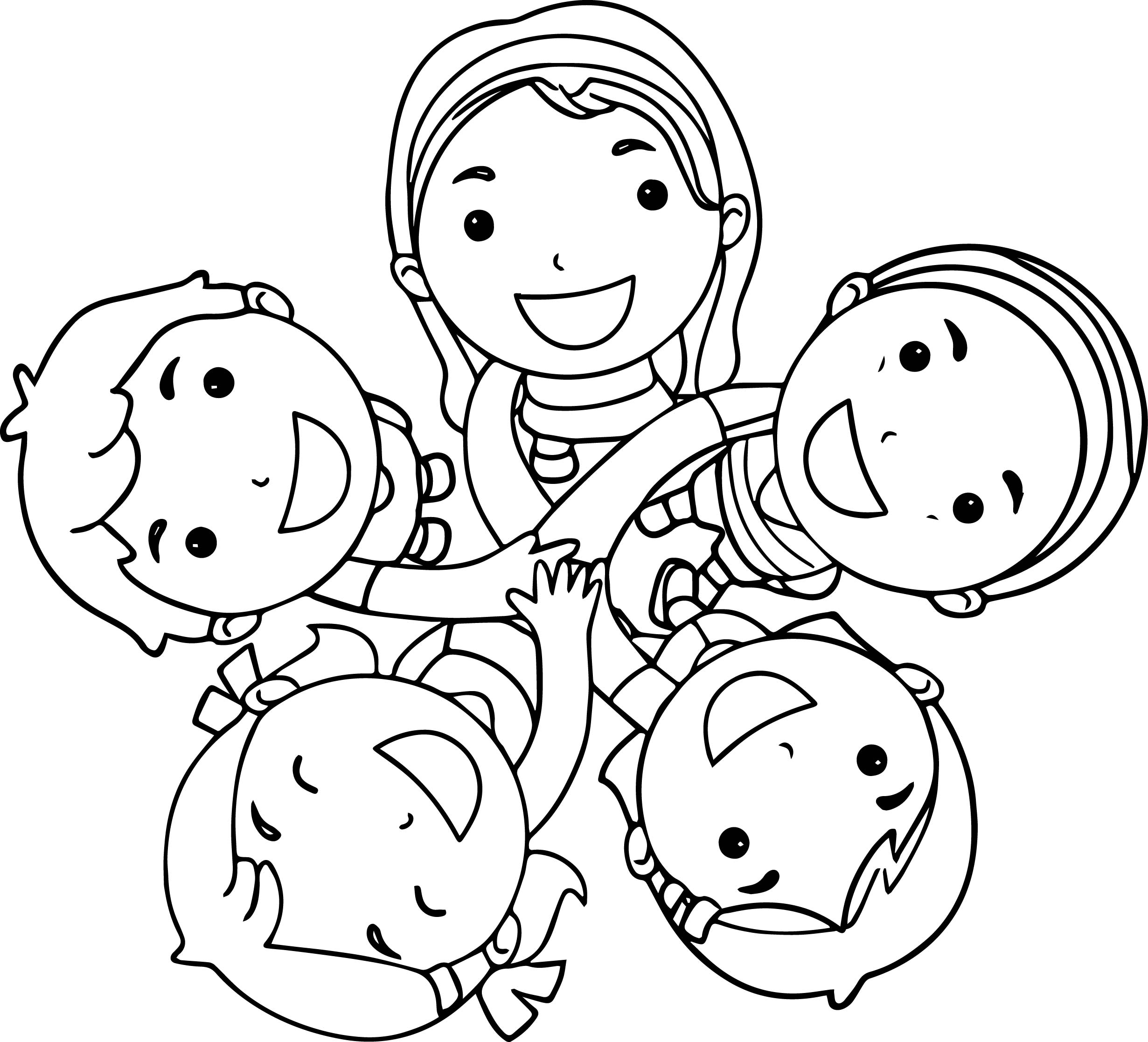 Five Best Friends Coloring Page