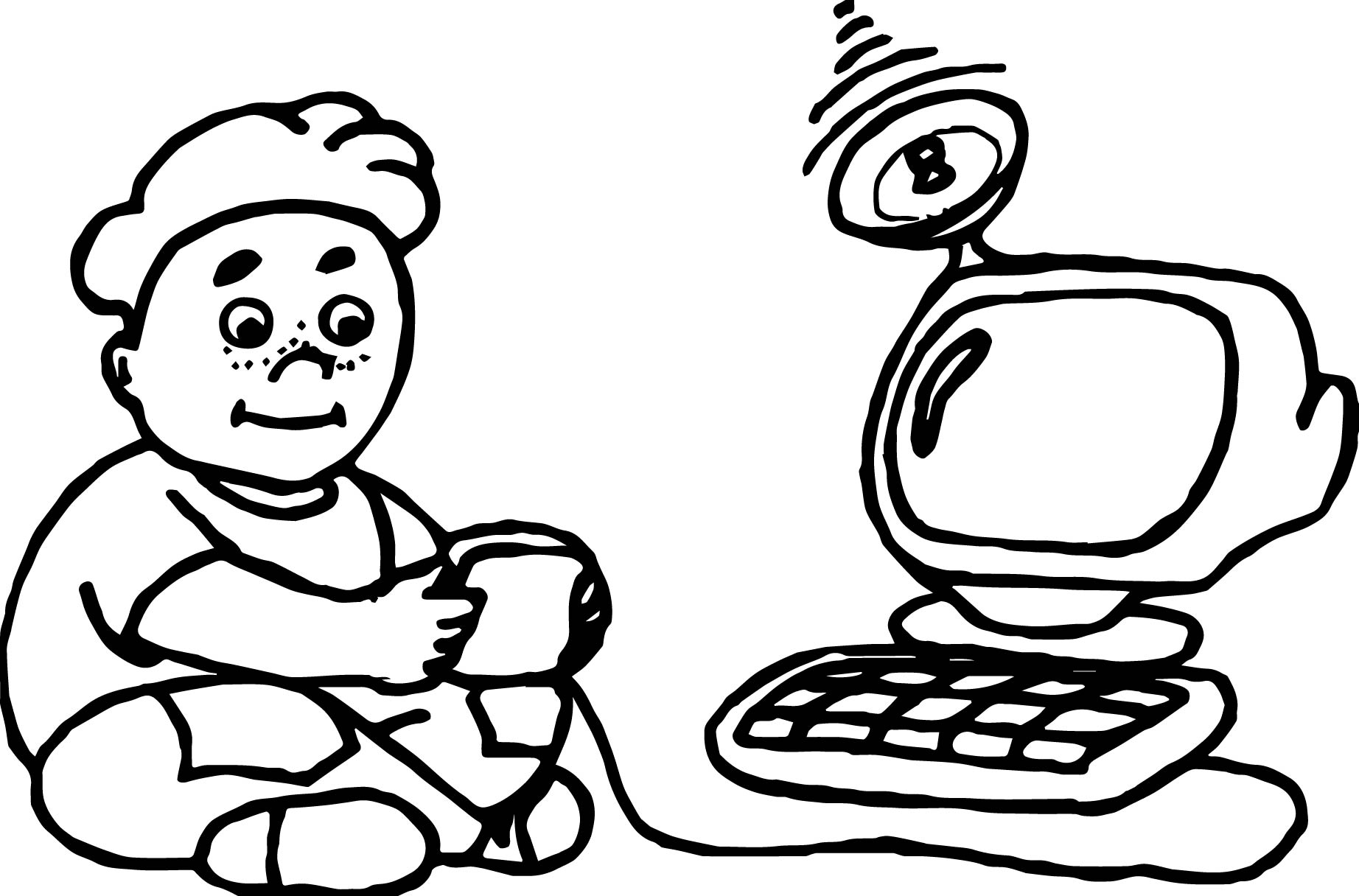 Gamer Playing Computer Games Coloring Page