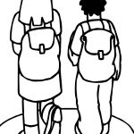 Girl And Boy Going To School Coloring Page