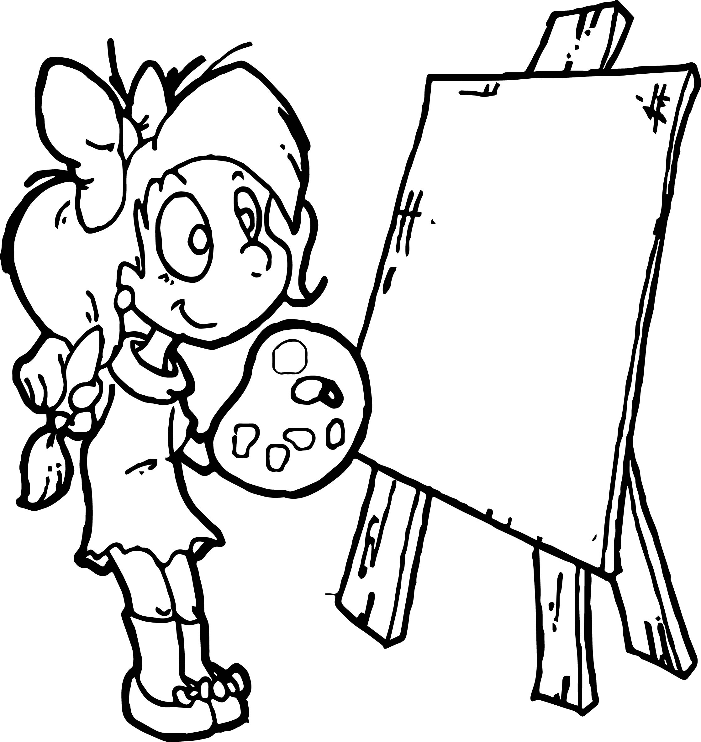 Girl Exhibition Cartoon Design Adult Coloring Page
