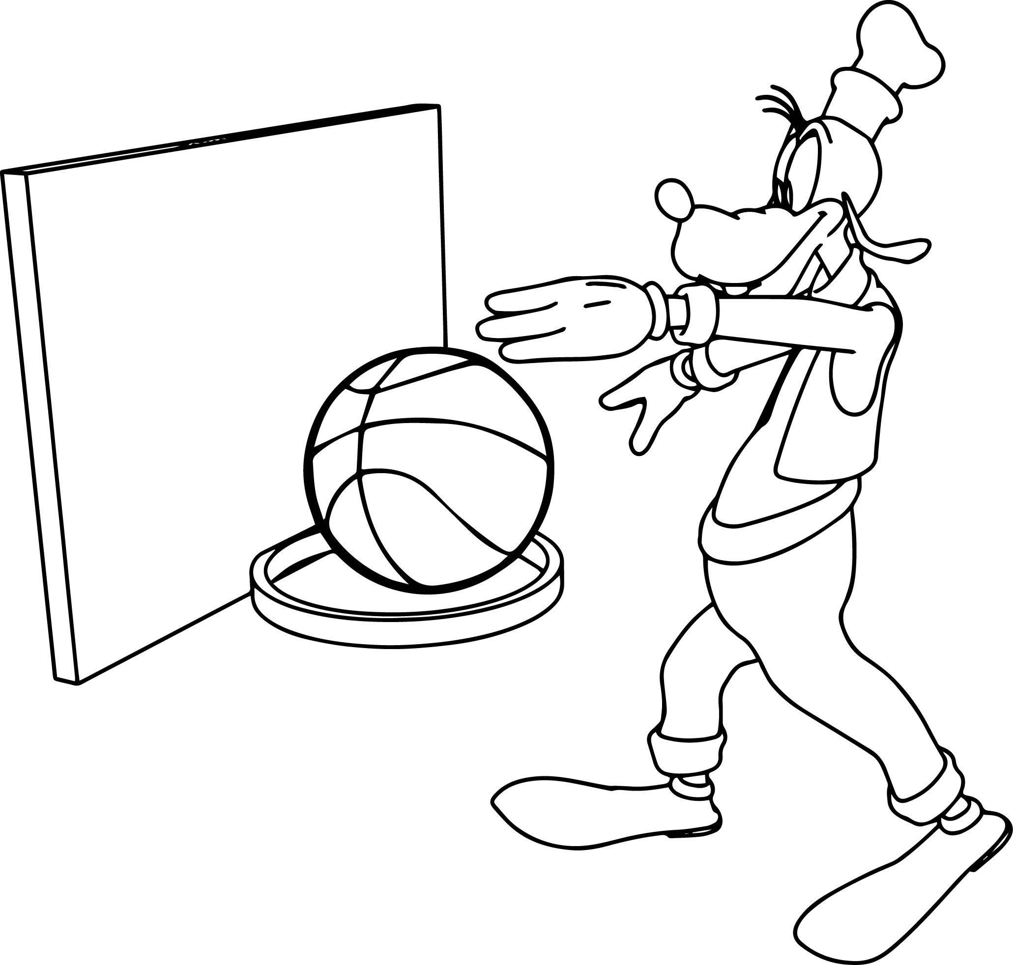 goofy basketball coloring page wecoloringpage