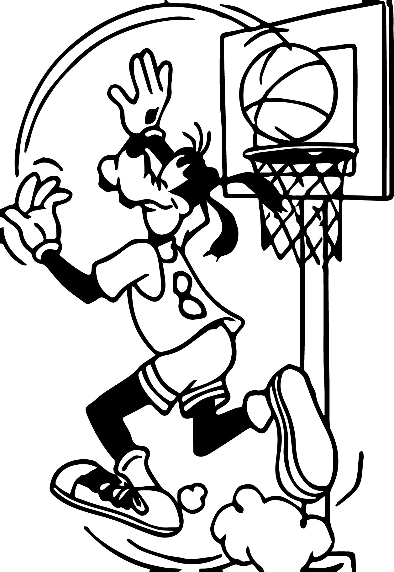 Coloring pages basketball - Goofy Playing Basketball Shot Coloring Pages
