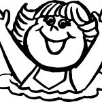 Happy Girl Kids Coloring Page