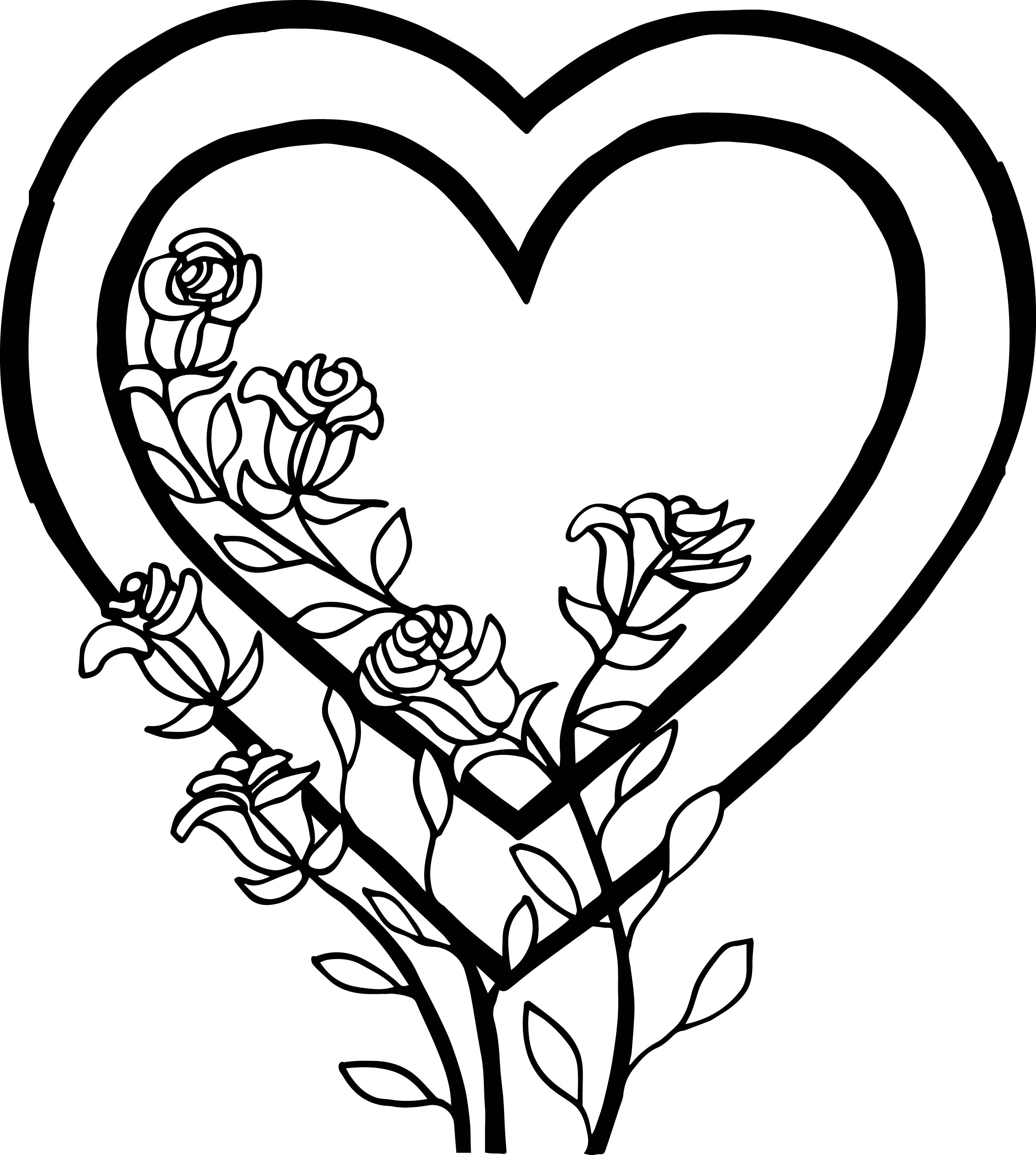 Heart And Roses Coloring Page