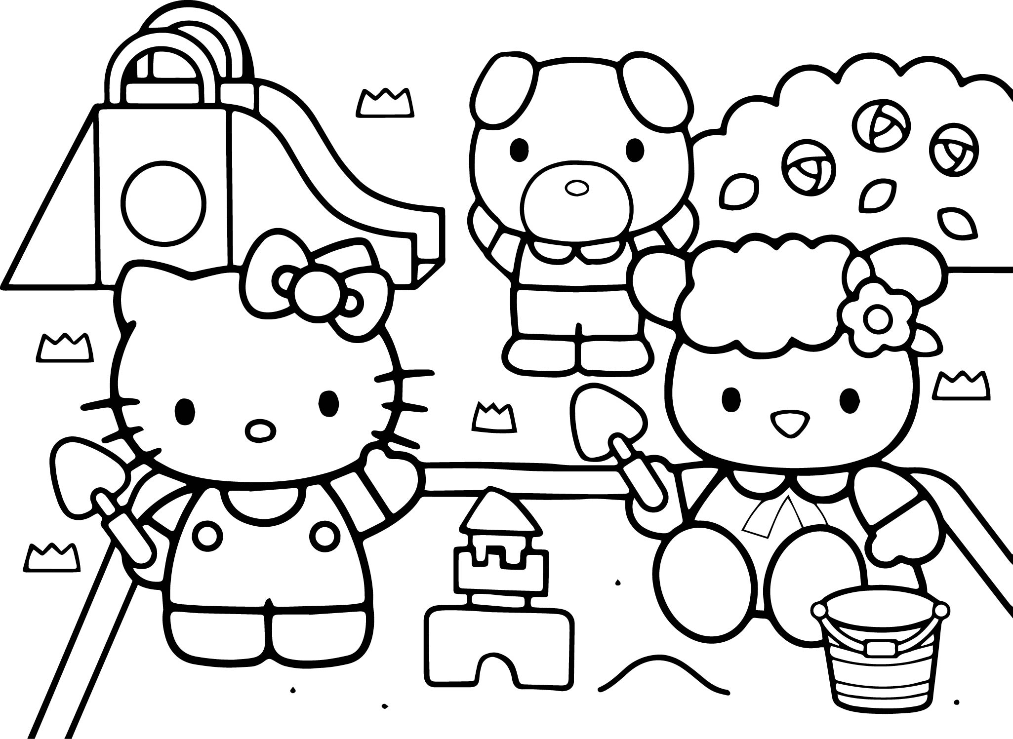 Hello Kitty At The Playground Coloring Page