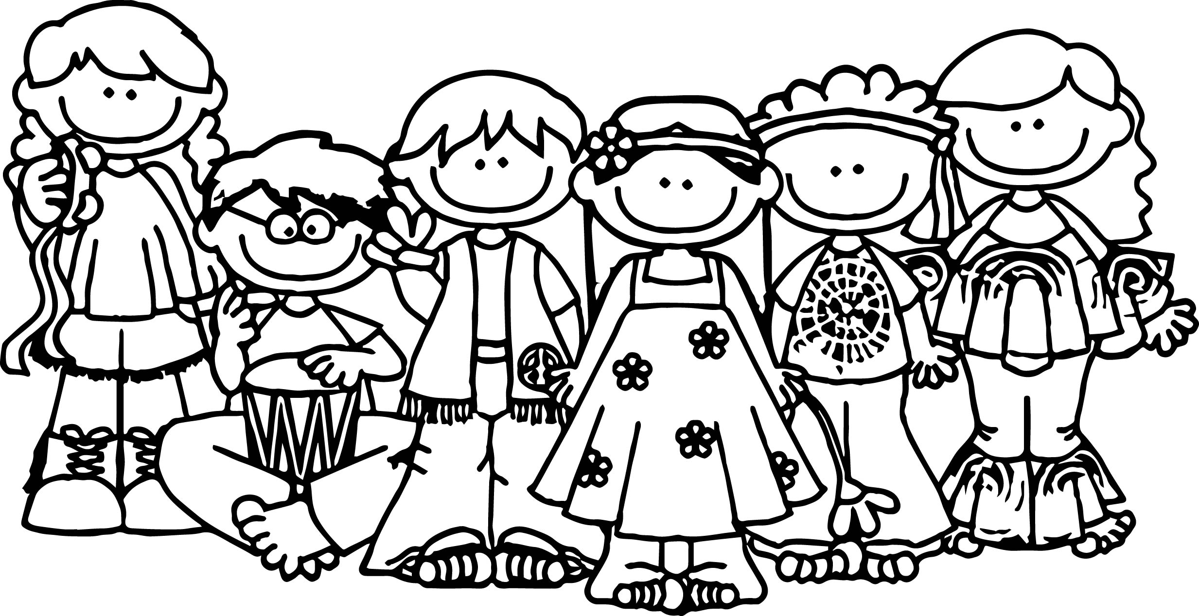 Group Of People Coloring Pages For Kids