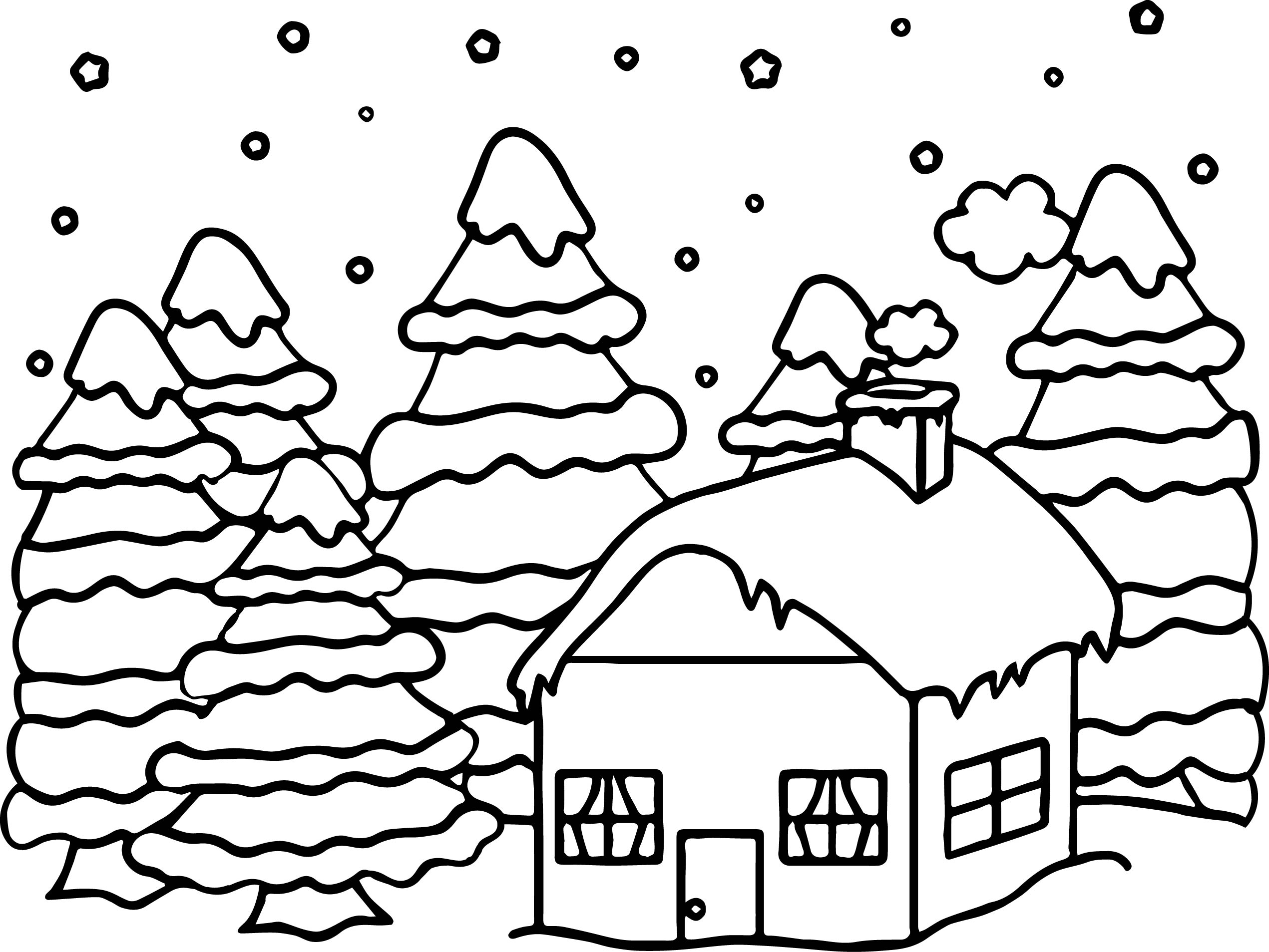 House Or Cabin In The Woods Covered In Snow In The Winter Time Coloring Page