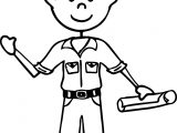 Illustration Of An African American Stick Figure Hard Working Man Coloring Page