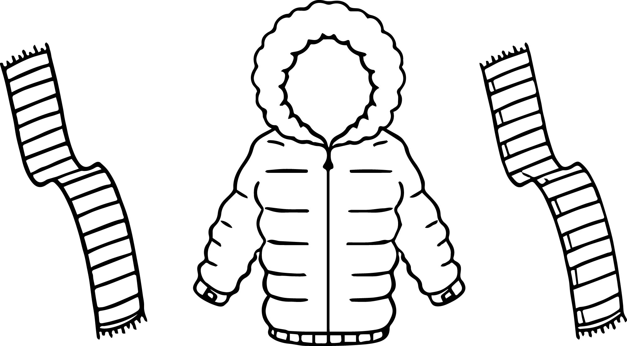 Jacket For Winter And Scarf Two Color Coloring Page ...