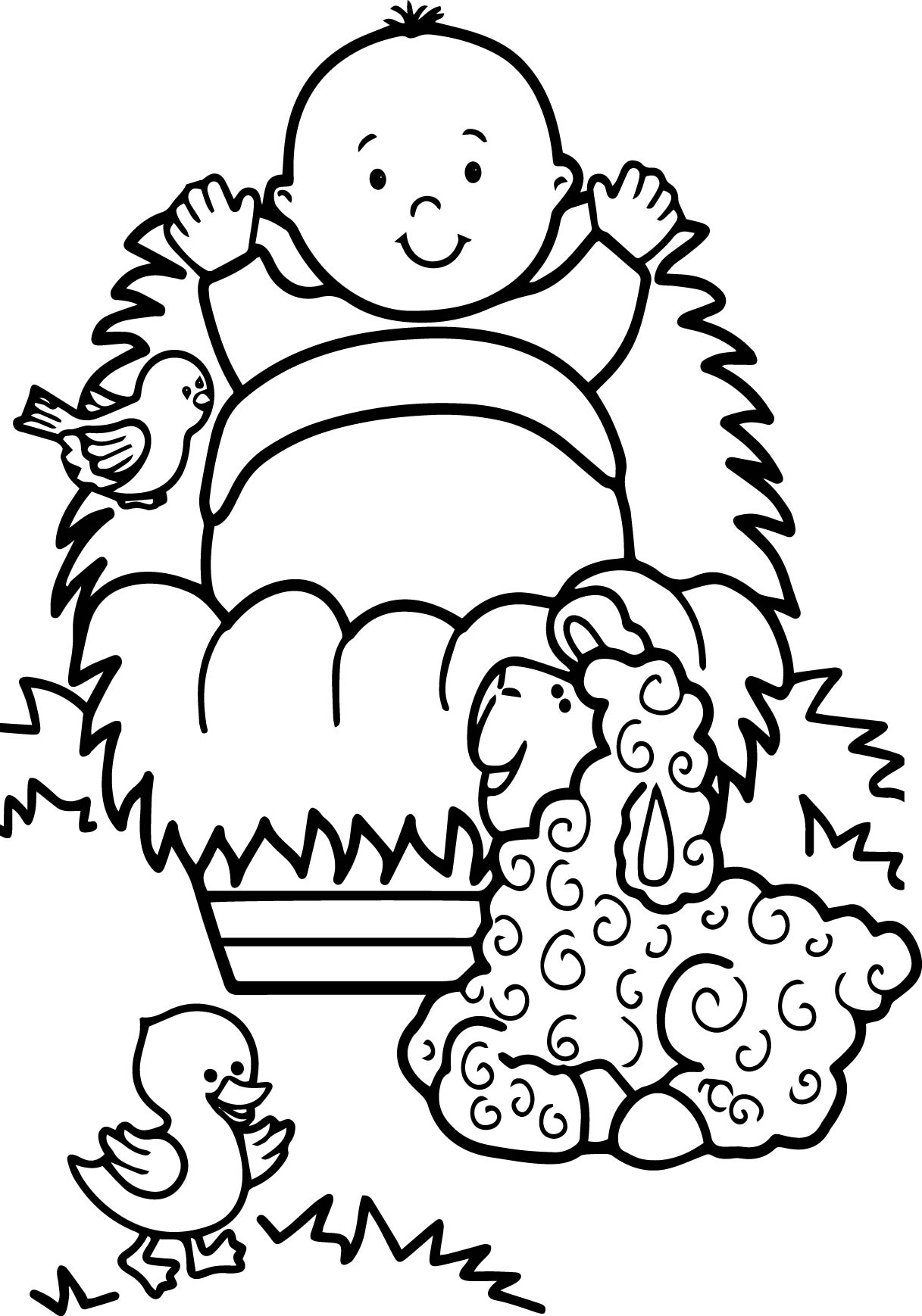 Jesus Baby Sheep Duck Coloring Page