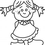 Kid Girl Smiling Kids Coloring Page