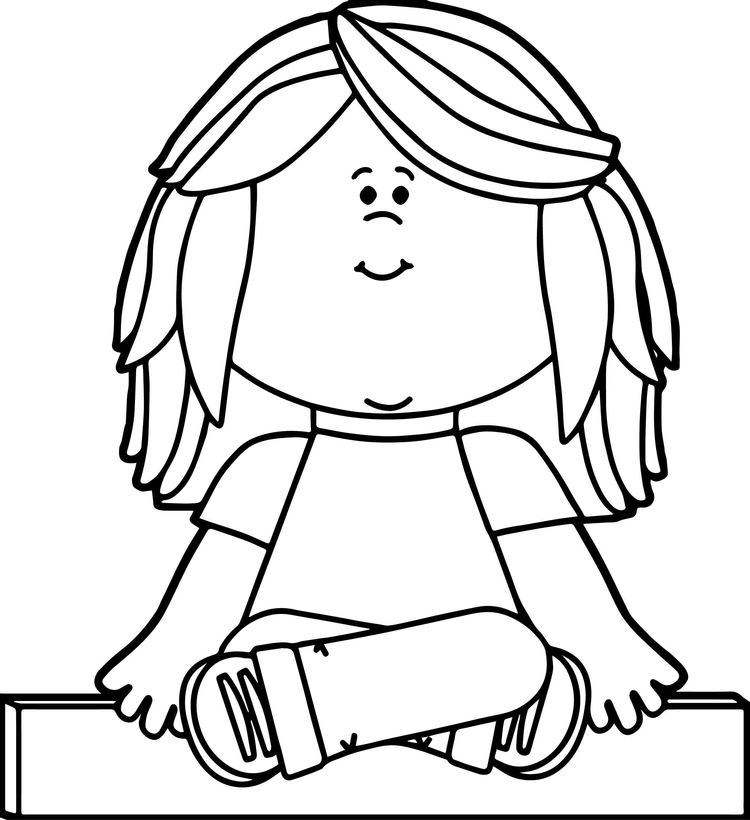 Kid Sitting On Math Minus Symbol Kids Coloring Page