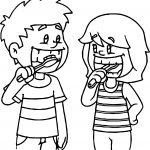 Kids Brushing Teeth Coloring Page